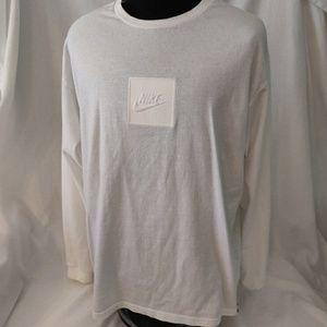 Nike white long sleeve logo t-shirt size large.